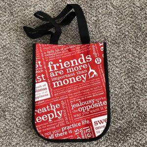"Lululemon ""friends are more important"" bag"